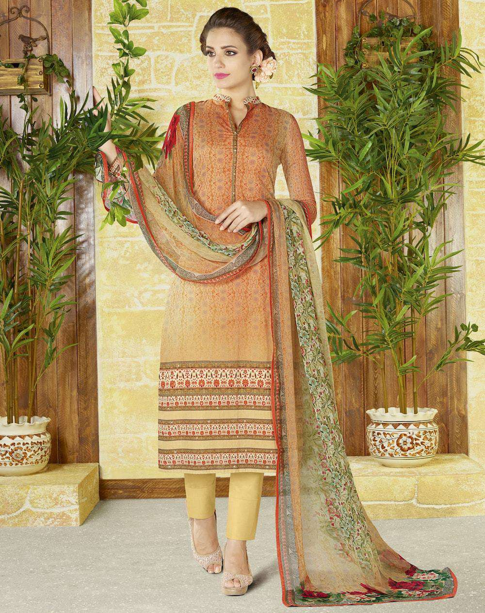 Orange & Yellow Printed Salwar Kameez MYSK-679