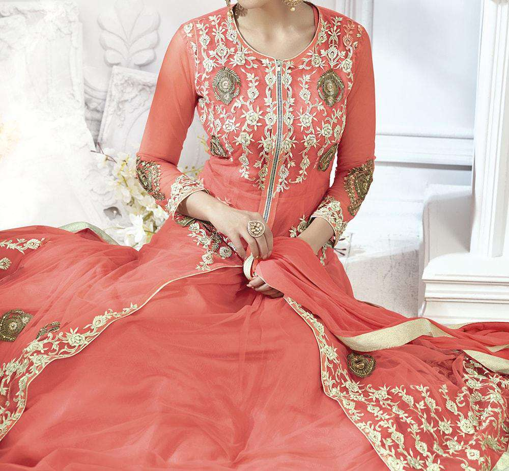 Heavy Embroidered Peach Anarkali Salwar Kameez MYSK-686