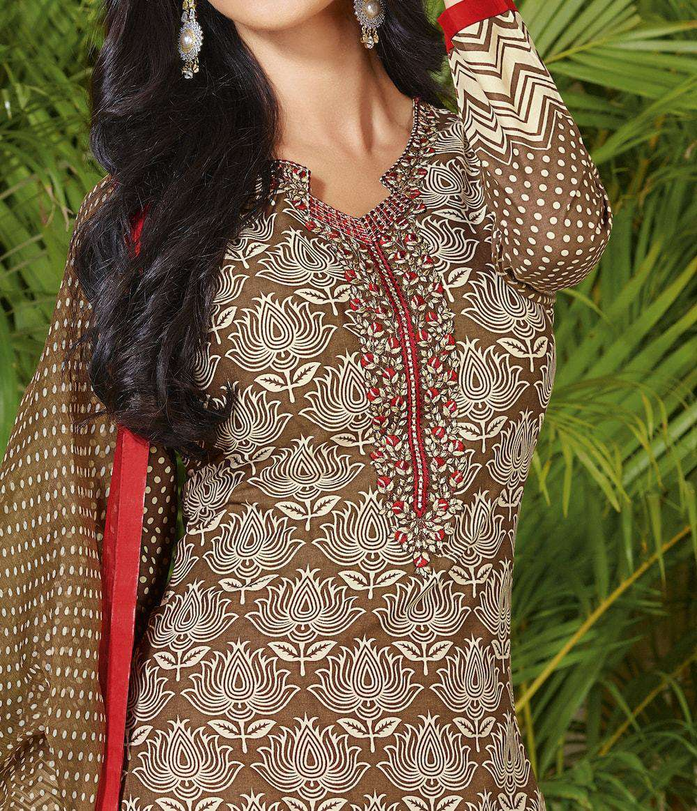 Light Brown Fancy Cotton Printed Salwar Kameez MYSK-836