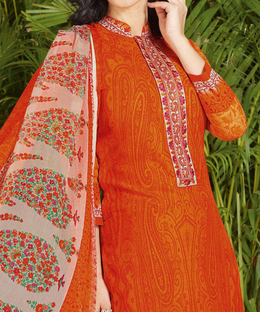 Orange Fancy Cotton Printed Salwar Kameez MYSK-837