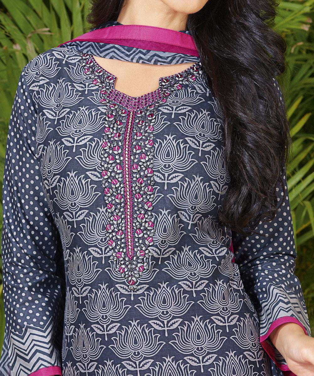 Grey Fancy Cotton Printed Salwar Kameez MYSK-839