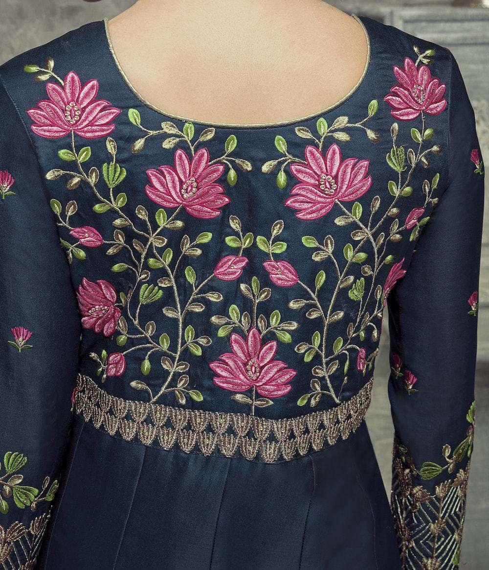 Midnight Blue Flower Embroidered Salwar Kameez MYSK-882