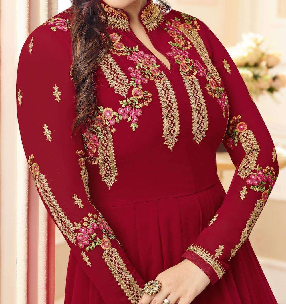 Maroon Georgette Designer Party Wear Salwar Kameez MYSK-890