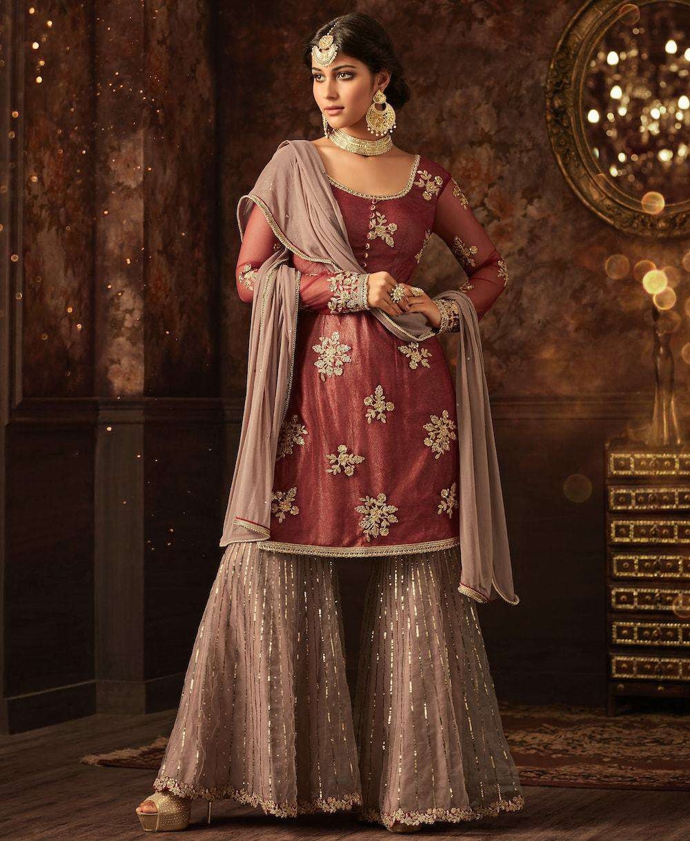 Maroon Love With Pink Contrast Traditional Embroidered Salwar Kameez MYSK-894