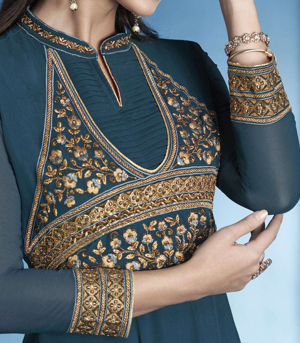 Stylish Blue Heavy Embroidered Salwar Kameez MYSK-902