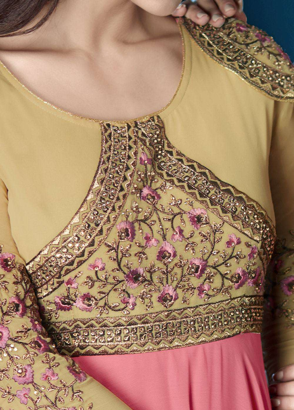 Pink & Beige Designer Traditional Embroidered Salwar Kameez MYSK-908