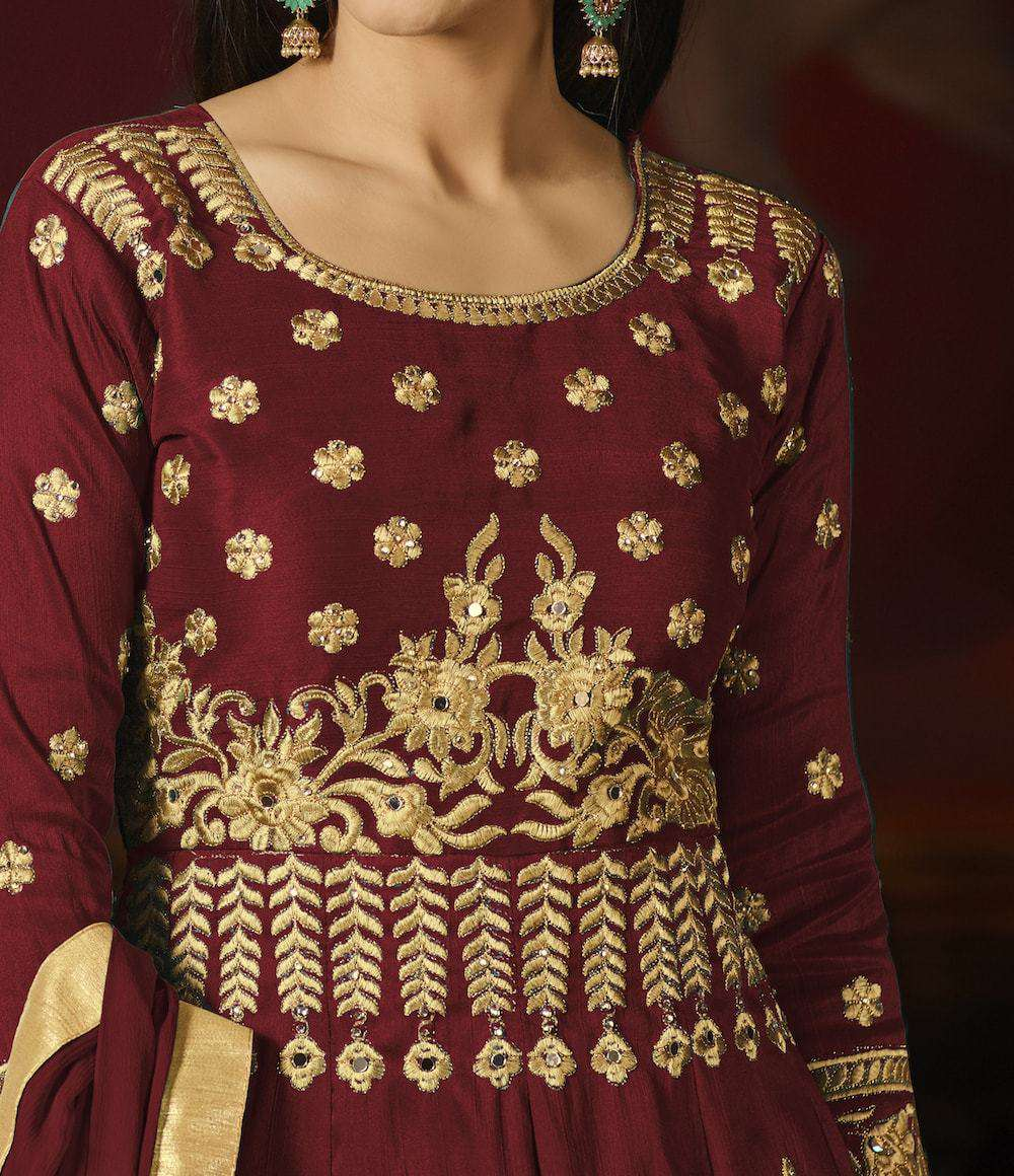 Charming Maroon Mulberry Silk with Embroidery Work Salwar Kameez MYSK-913