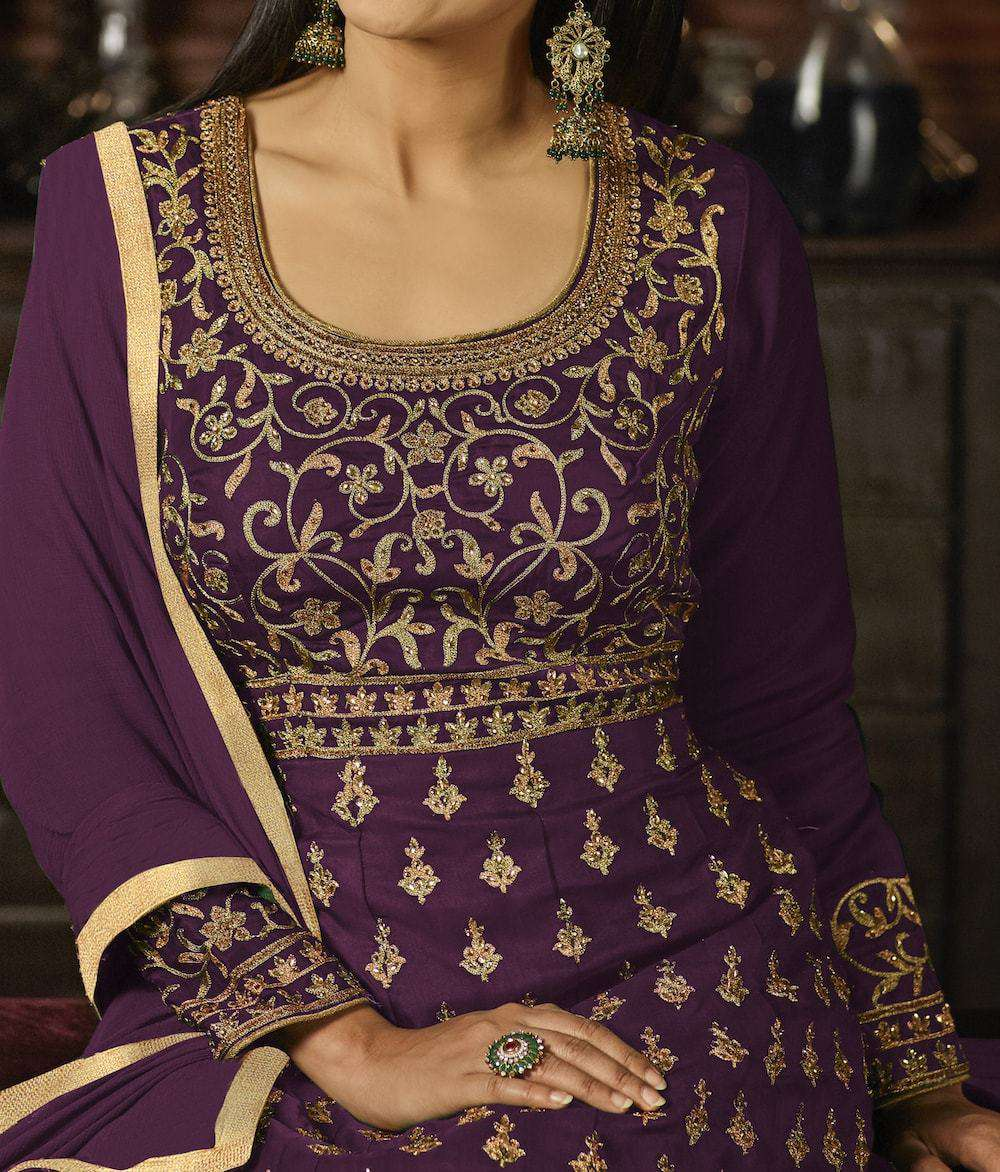 Impressive Purple Georgette with Embroidery Work Salwar Kameez MYSK-918