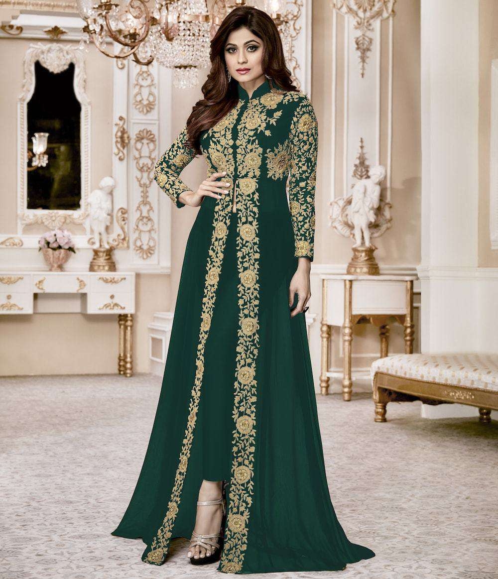 Delightful Bottle Green Georgette with Embroidery Work Salwar Kameez MYSK-921