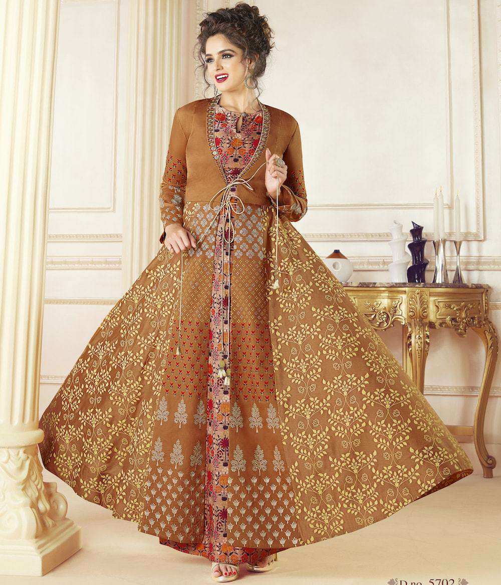 Light Brown Table Print & Embroidered Gown MYSK-926