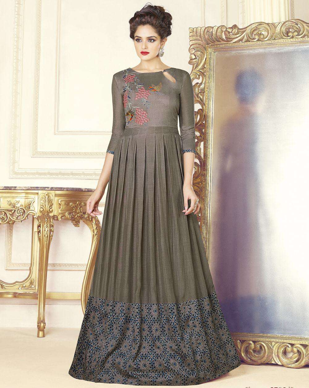 Grey Embroidered Party Wear Gown MYSK-927
