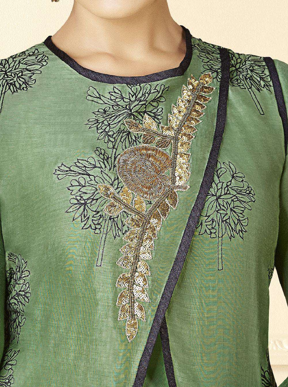 Green Table Print & Embroidered Gown MYSK-928