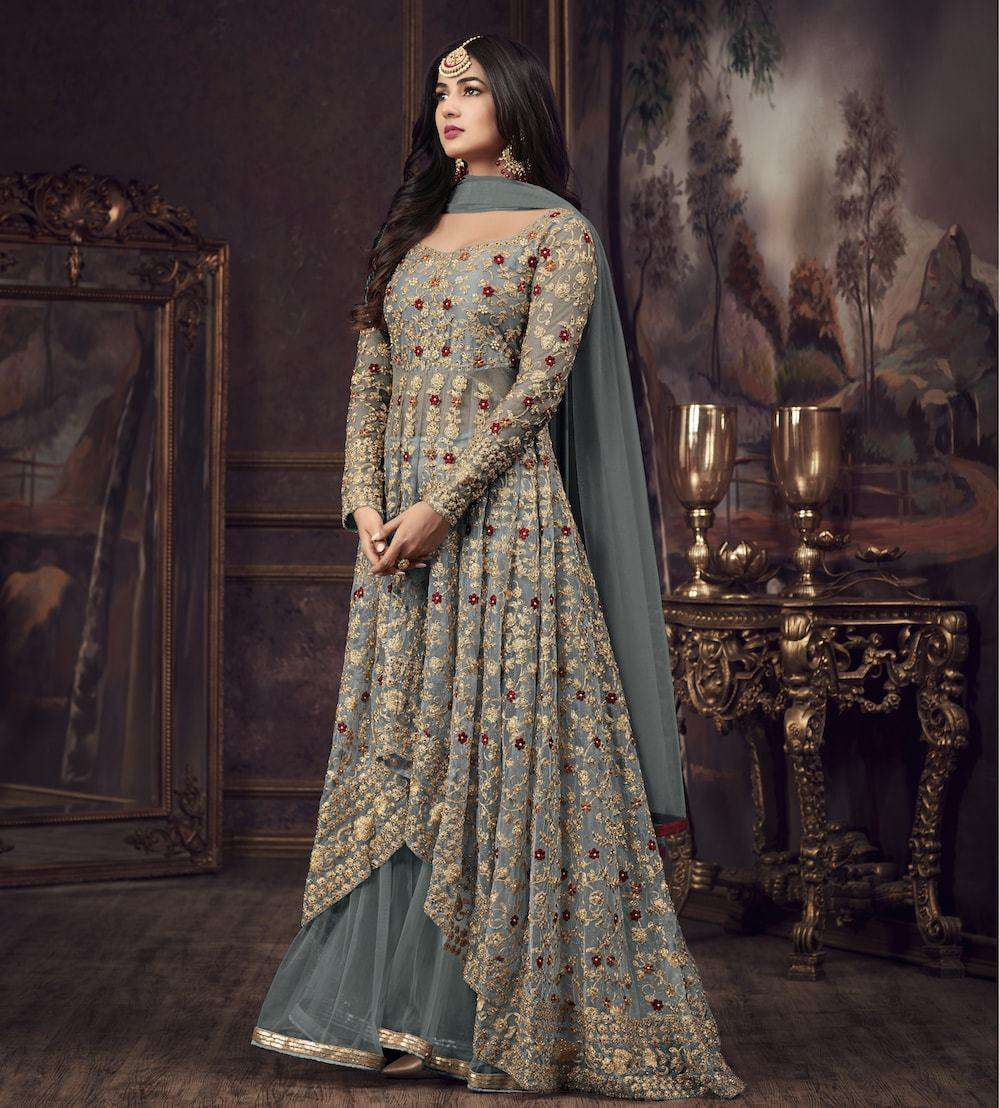 Grey Traditional Look Wedding Wear Salwar Kameez MYSK-952