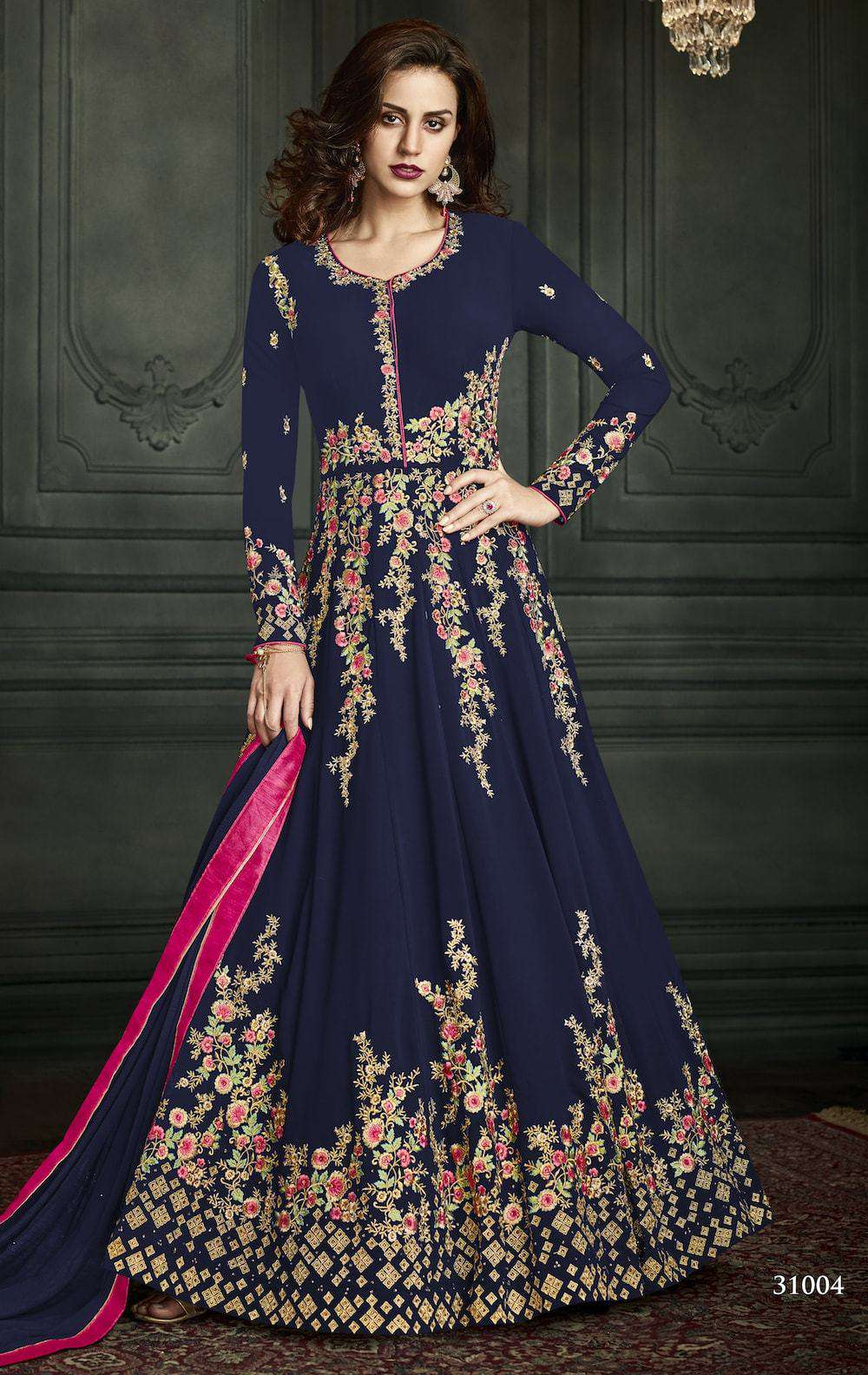 Blue Georgette Embroidered Wedding Wear Salwar Kameez MYSK-957