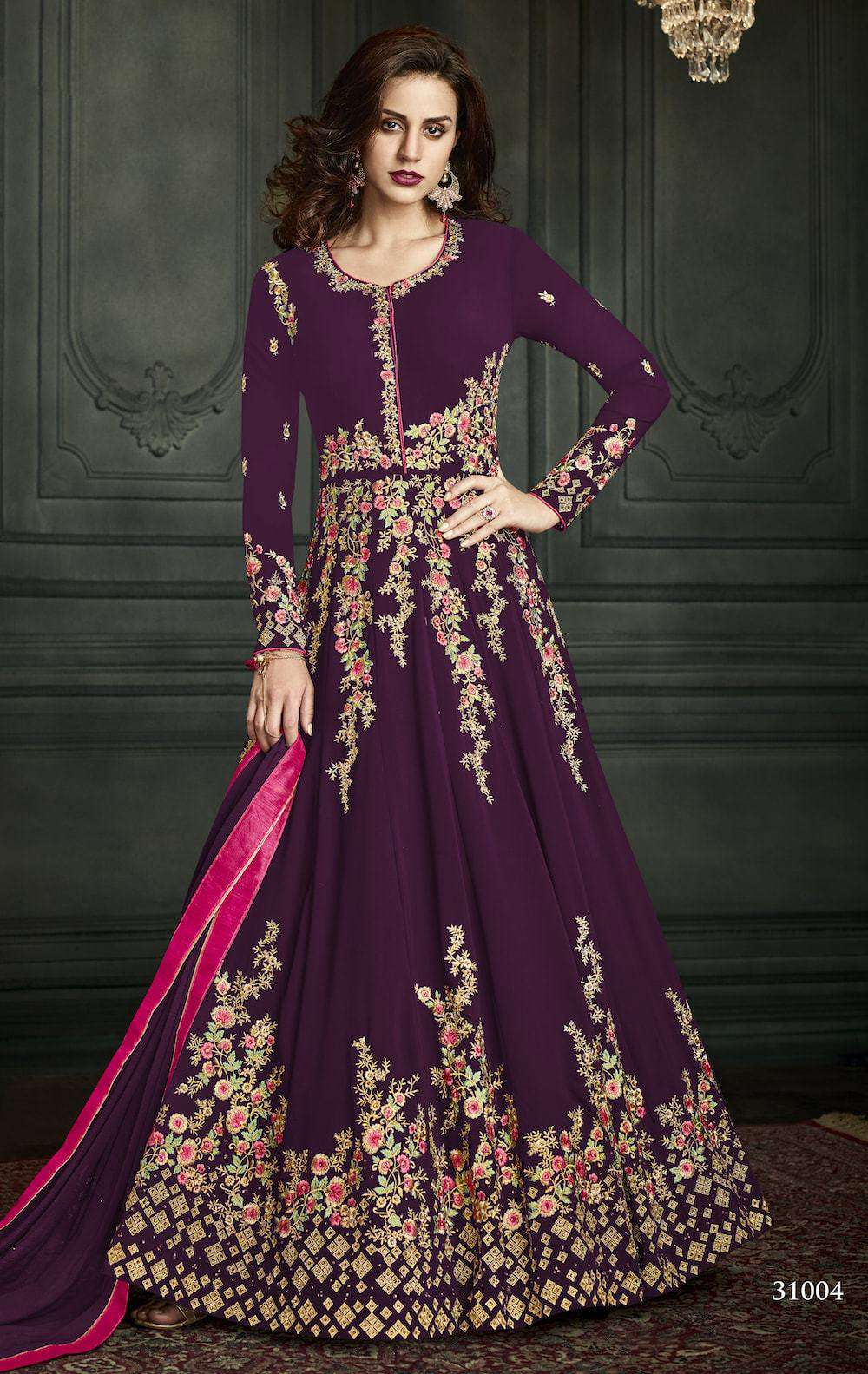 Purple Georgette Embroidered Wedding Wear Salwar Kameez MYSK-958