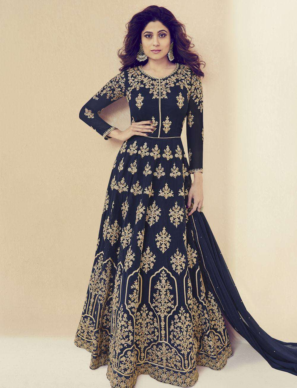 Navy Blue Georgette Embroidered Wedding Wear Salwar Kameez MYSK-975