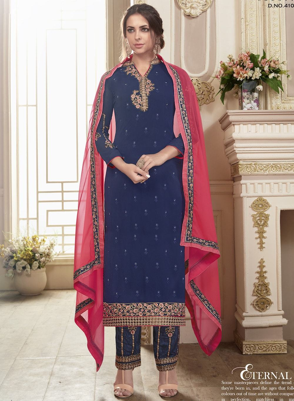 Adorable Navy Blue Colored Georgette Party Wear Salwar Kameez MYSK-998