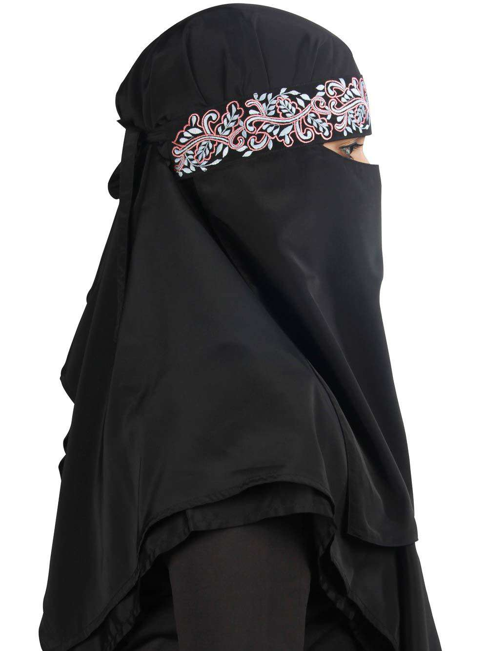 Aqeelah Black Crepe Embroidered Niqab