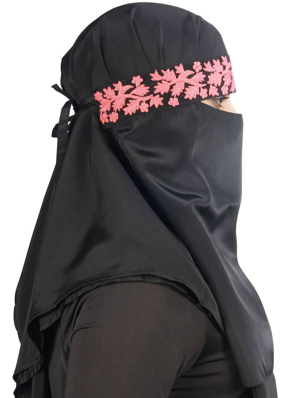 Alishba Black Crepe Embroidered Niqab
