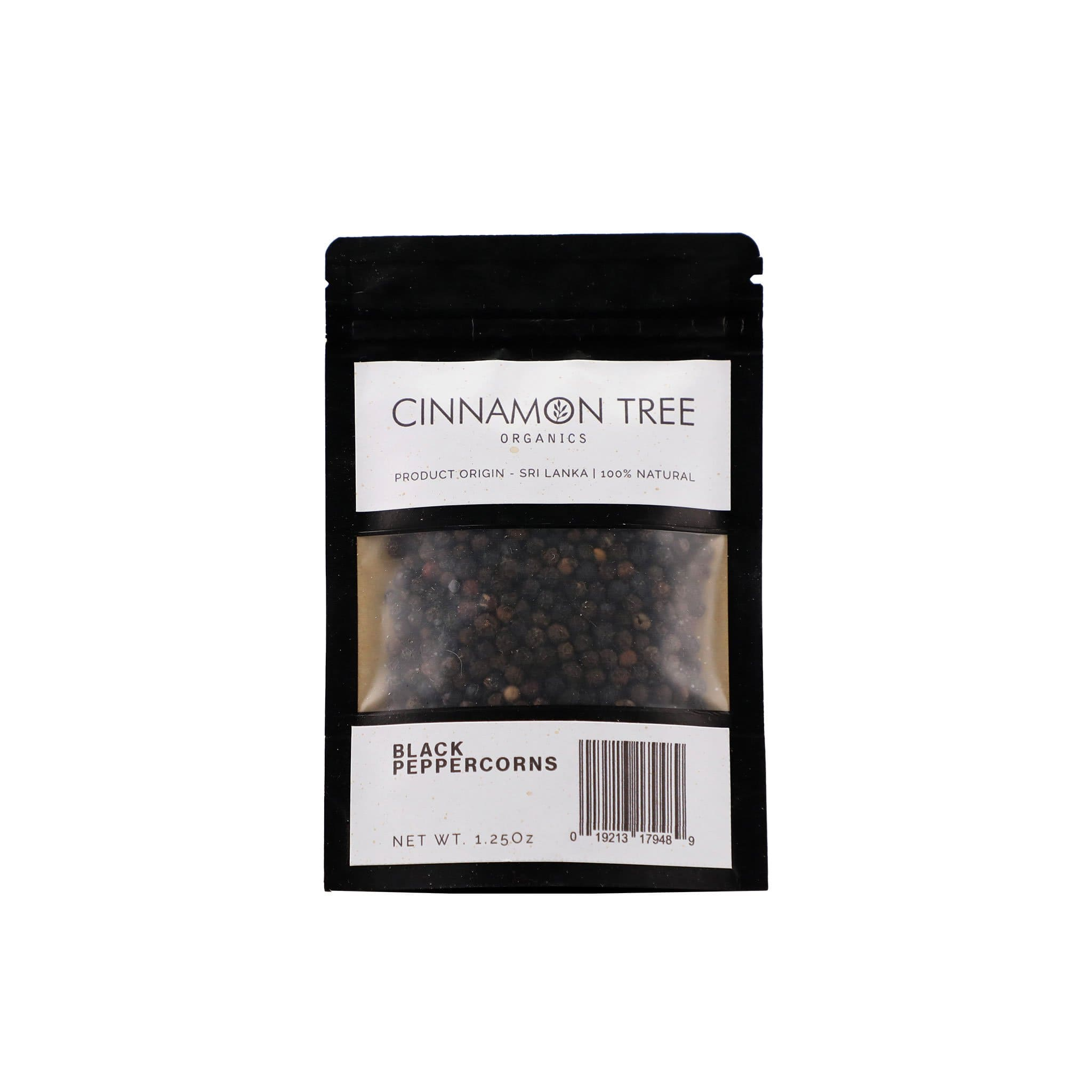 Cinnamon Tree Organics single origin organic black peppercorns 1.25Oz
