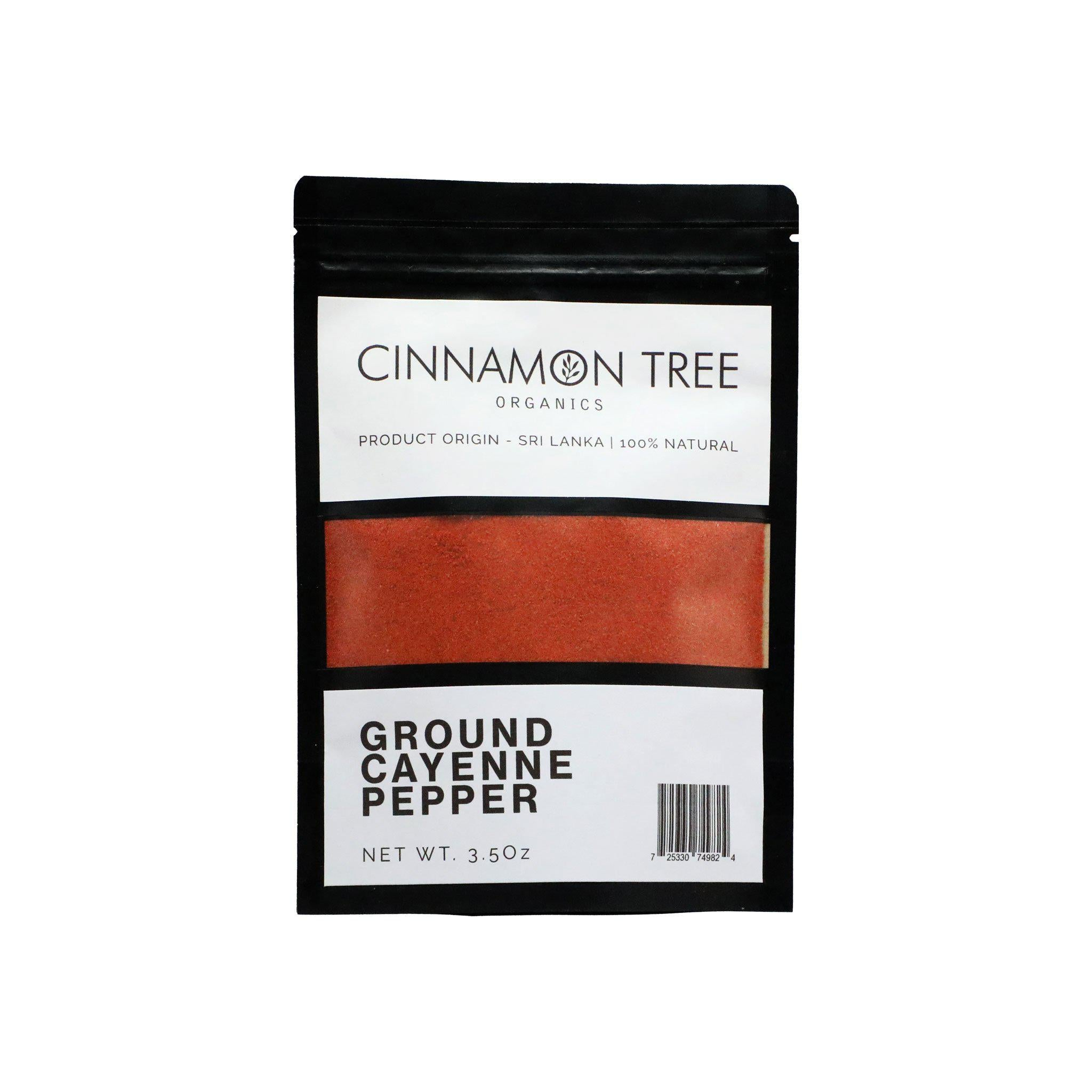 Cinnamon Tree Organics single origin ground cayenne pepper 3.5Oz package