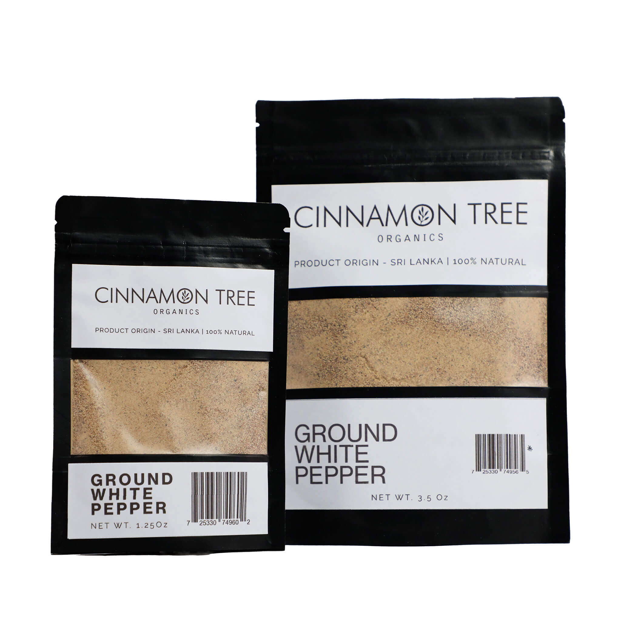 Cinnamon Tree Organics Certified-organic single origin ground white pepper packs