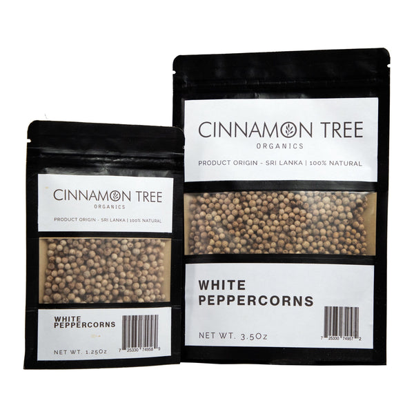 Cinnamon Tree Organics organic white peppercorns packs