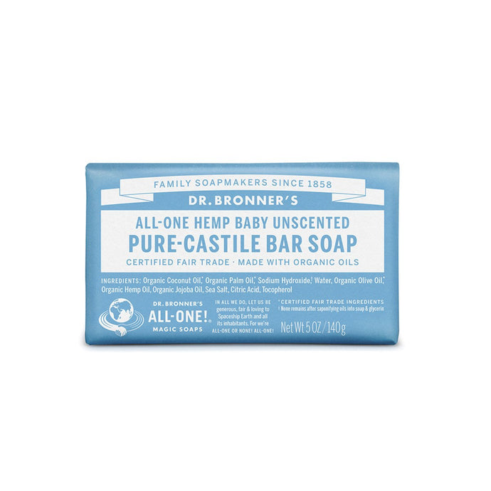 Dr Bronner's PURE-CASTILE soap bar (ALL IN ONE HEMP) unscented