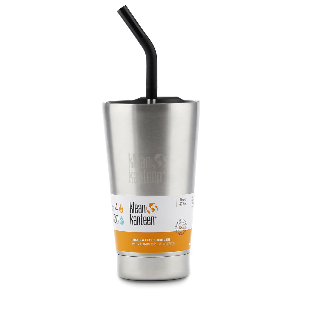 Klean Kanteen Insulated tumbler with straw lid 473ml - Brushed Stainless