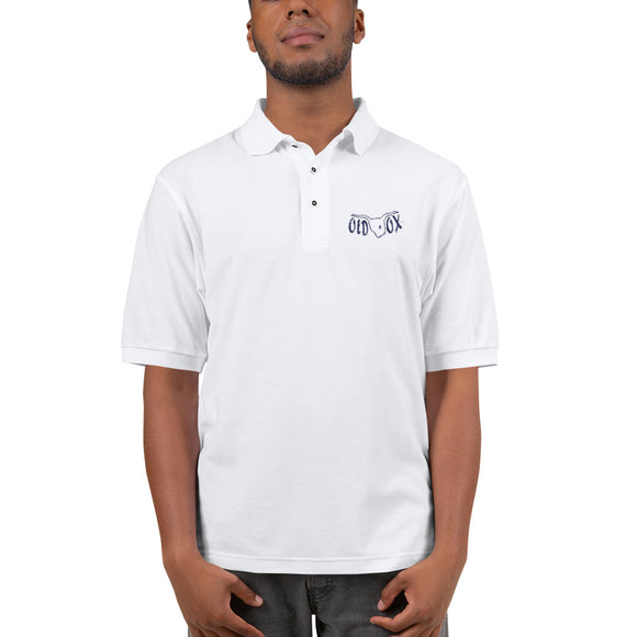 Embroidered Polo-wht w/navy