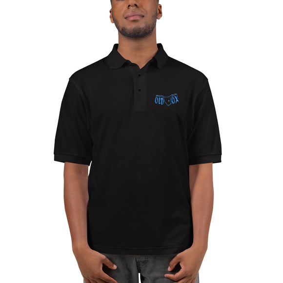 Embroidered Polo-blk w/teal