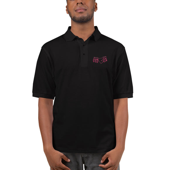 Embroidered Polo-blk w/red