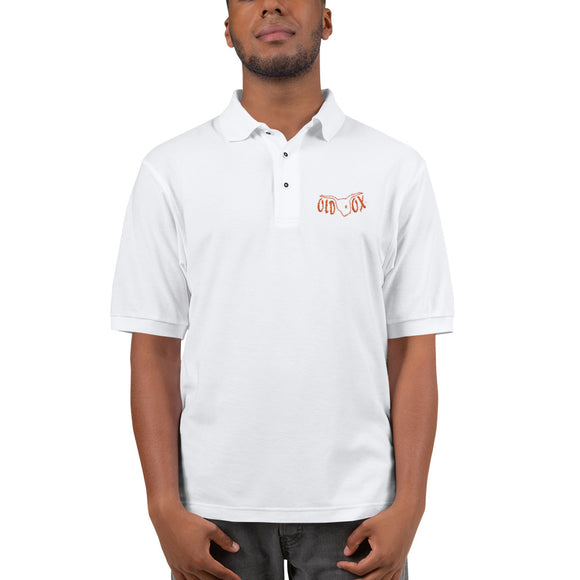Embroidered Polo-wht w/orange