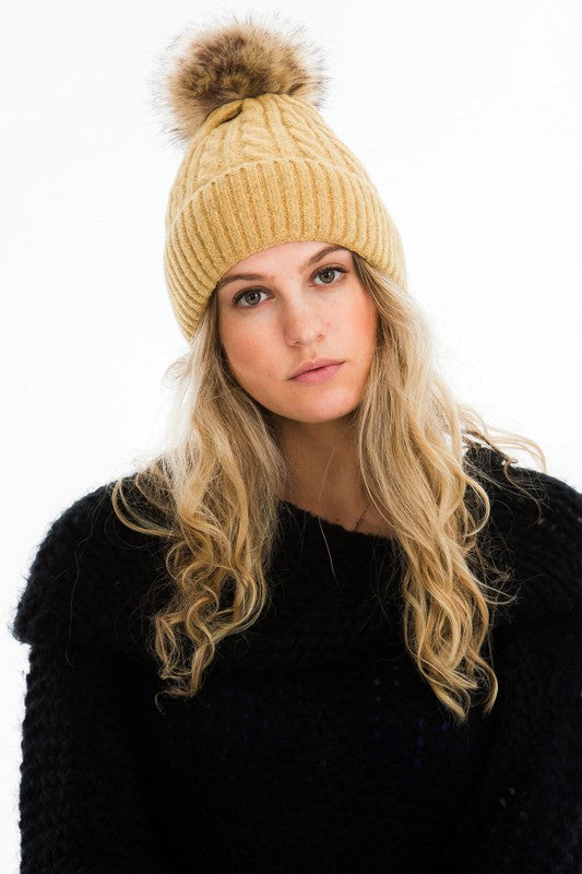 warm knit single pom hat
