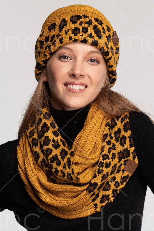 mustard infinithy scarf with leopard print  ponytail hat
