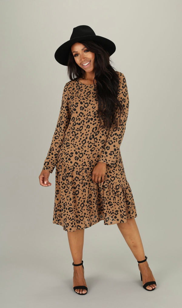 beautiful leopard print dress with ruffle hem