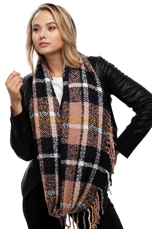 blush plaid fringe infinity scarf