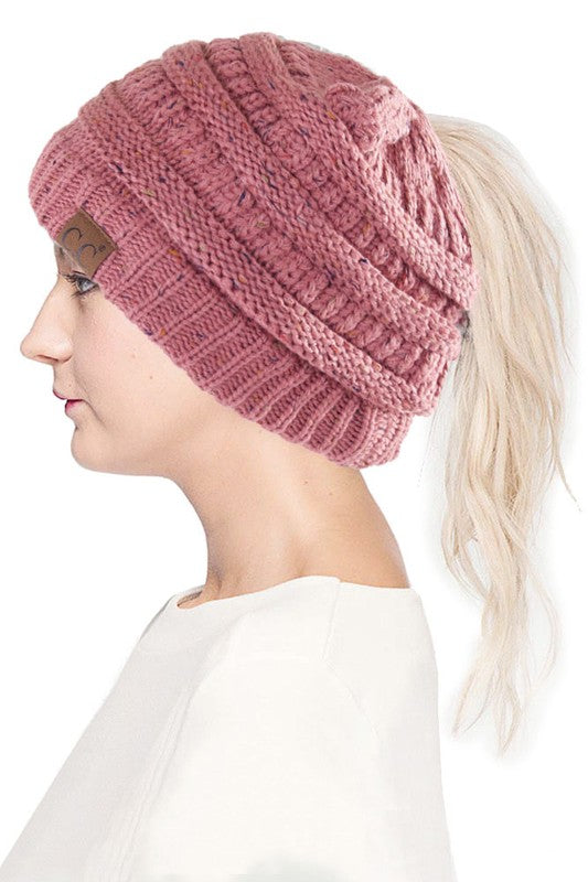 pink fleck ponytail winter hat