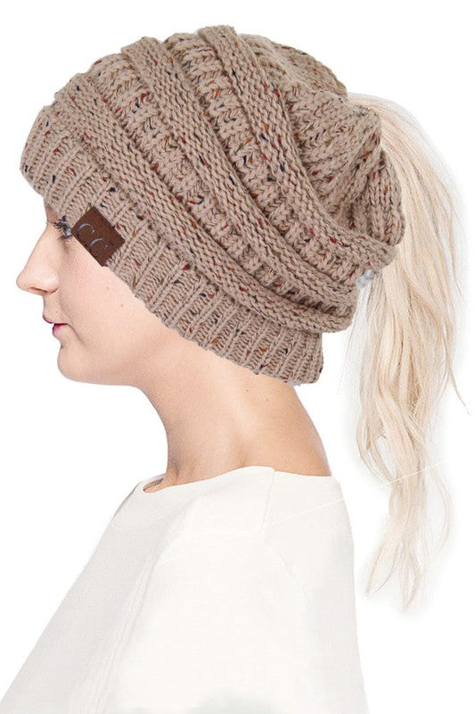 coffee colour ponytail winter hat