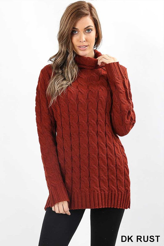 rust cable knit sweater with a cowl neck