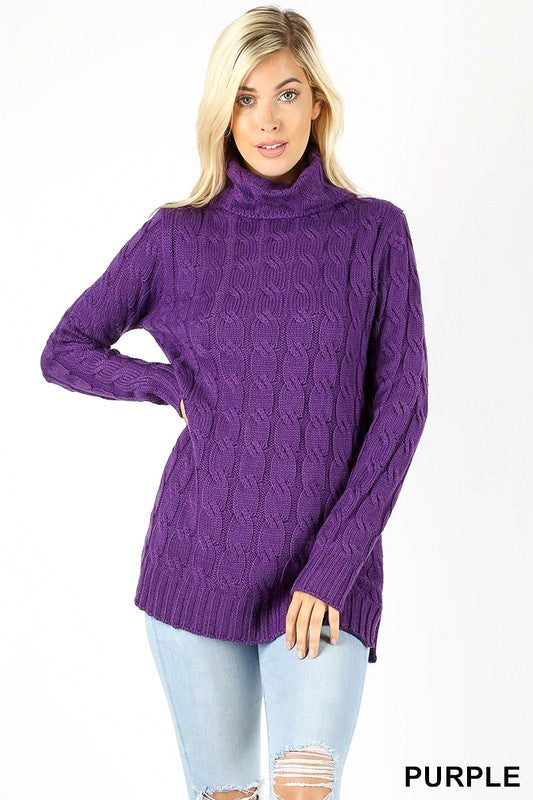 purple cable knit sweater featuring a cowl neckline