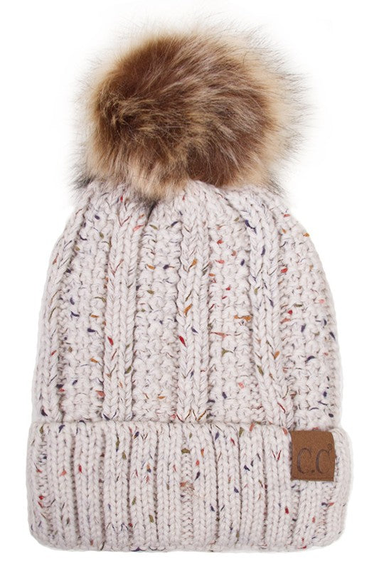 beige fleece lined hat with single pom pom