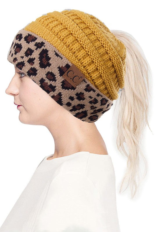 mustard hat with leopard print band ponytail hat