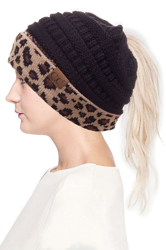 black hat with leopard print band ponytail hat