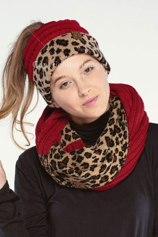 red hat with leopard print band ponytail hat