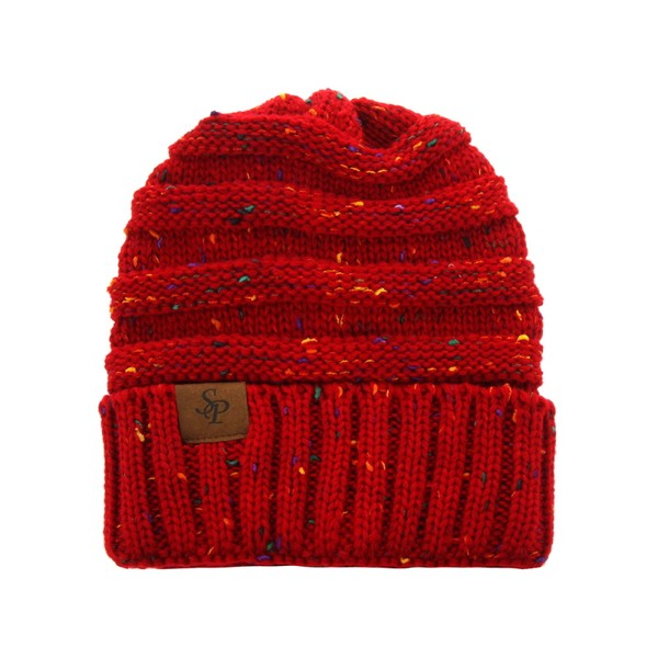 red fleck ponytail winter hat