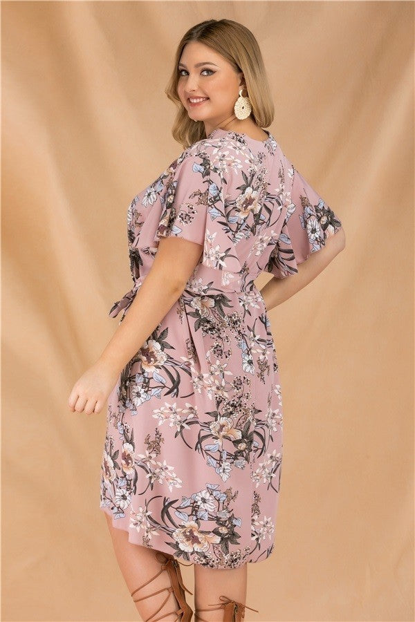 plus size blush floral print dress