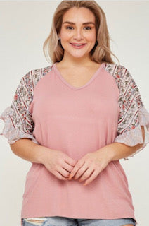 Blush contrast bell sleeve top