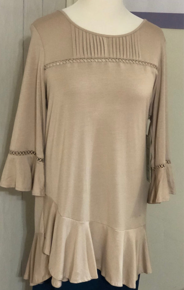 ruffle hem and sleeve tunic