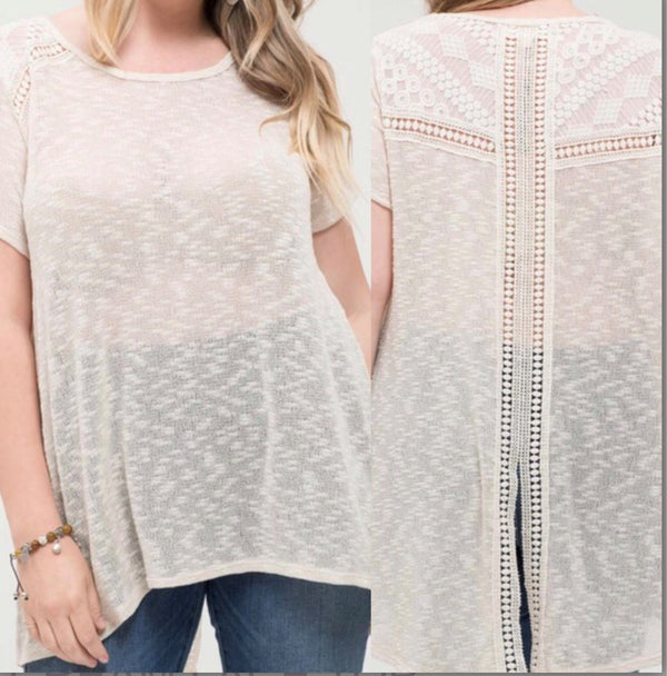 plus size laced detail short sleeve top